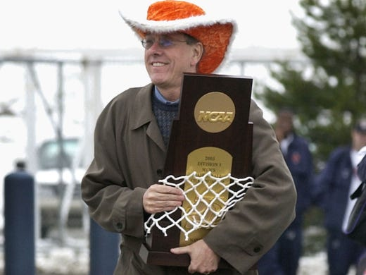 Jim Boeheim has been Syracuse's head coach since 1976. Here, Boeheim returns to Syracuse with his team after winning the 2003 national championship.