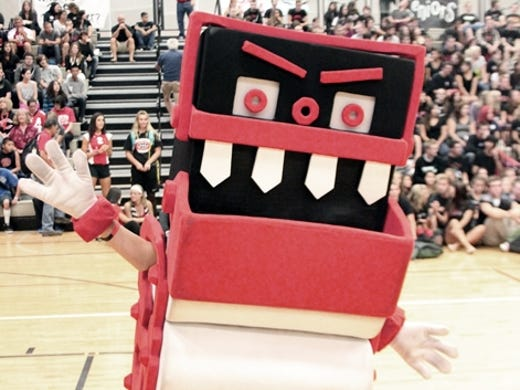 Ladies and gentlemen, this is a Papermaker machine mascot for Camas High School in Washington.