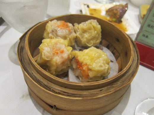 One of the most traditional dumplings at a dim-sum restaurant are shumai: delicate canister-shaped, upright dumplings open at the top, with a very thin wrapper. These are pork shumai.