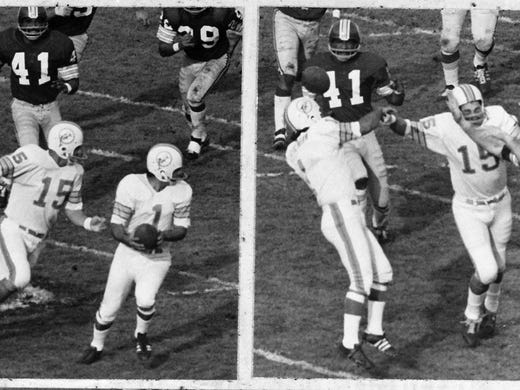 The 1972 Dolphins were perfect at 17-0, but in their Super Bowl VII win over the Redskins, kicker Garo Yepremian provided one of the biggest gaffes in Super Bowl history. His kick was blocked, he recovered, then tried to pass in haste, only it was deflected into the hands of Mike Bass (41), who took it to the end zone for Washington's only touchdown of the game.