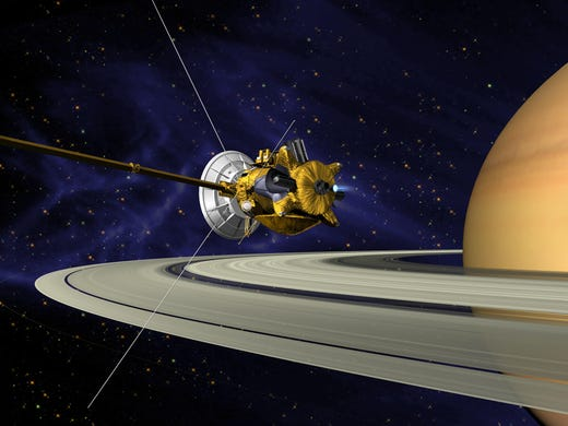 Cassini arriving at Saturn in 2004.