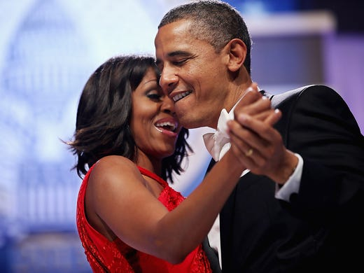 President Obama dances and sings with first lady Michelle Obama at the Commander-in-Chief's Inaugural ball on Jan. 21 at the Washington Convention Center in Washington, D.C.