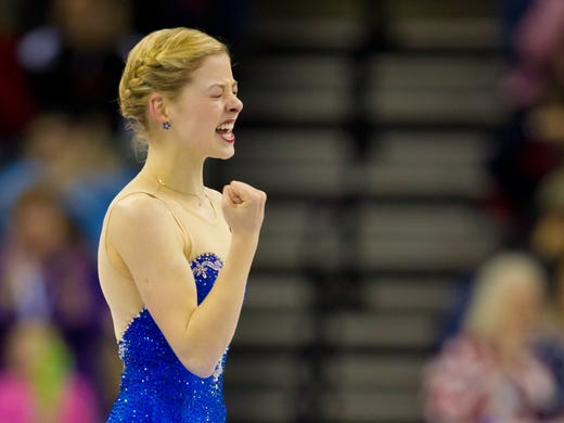 Gracie Gold reacts after her free skate at the U.S. Figure Skating Championships in Omaha on Saturday. Gold came from ninth place in the short program to win silver.