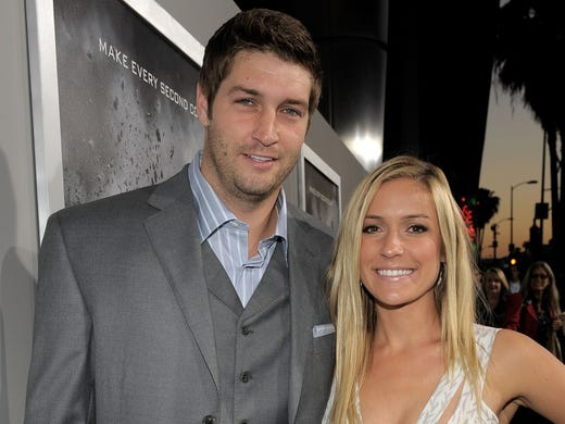 """Bears QB Jay Cutler and Kristin Cavallari arrive at the premiere of Summit Entertainment's """"Source Code"""" at ArcLight Cinemas on March 28, 2011 in Los Angeles."""