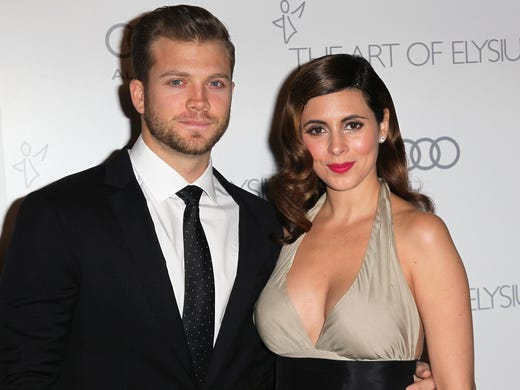 """Actress Jamie-Lynn Sigler and Cutter Dykstra attend the Art of Elysium's 6th Annual Black-tie Gala """"Heaven"""" at 2nd Street Tunnel on January 12, 2013 in Los Angeles, California."""