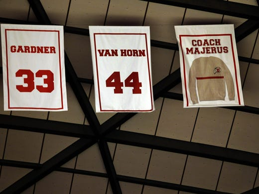 Former Utah head coach Rick Majerus' sweater is retired to the rafters of the Jon M. Hunstman Center during halftime of the team's game against Colorado on Saturday in Salt Lake City. Majerus coached at Utah for 14 years.