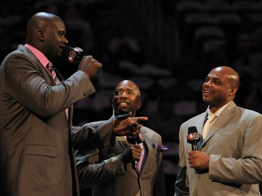 TNT analysts Shaquille O'Neal, left, and Charles Barkley, right, picked teams for the BBVA Rising Stars Challenge, which features rookies and sophomores. The game is Friday, Feb. 15. Scroll through to see who picked who, in what order.