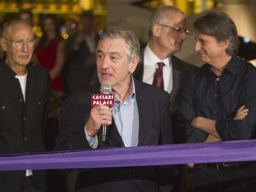 Actor Robert De Niro, a partner in the Nobu restaurants and hotel, speaks during a ribbon-cutting ceremony at the Nobu Hotel and restaurant opening in Caesars Palace hotel and casino Feb. 2, 2013.
