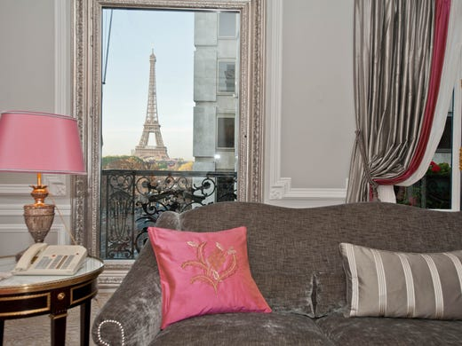 It may be a little late to be booking a romantic stay for this Valentine's Day, but it's never the wrong time to start planning your next romantic vacation. Get inspired by Oyster.com's picks for the 10 most romantic hotels in the world. <br /> <br /> Hotel Plaza Athenee, Paris: You can't think of romantic getaways and not consider Paris. The City of Love is full of romantic hotels, big and small, but Hotel Plaza Athenee outshines the others in setting the mood for couples. Nothing says romance like a view of the Eiffel Tower from your luxurious suite, and that's just what you get at this iconic hotel. The 146 rooms and 45 suites are decorated in classic Art Deco style - picture draped curtains, gilded wall panels and crystal chandeliers - with modern touches like flat-screen TVs and marble baths. And the top-notch Dior Institute spa features tons of couples' treatments. Finish the day with a romantic meal at one of the six distinct restaurants.