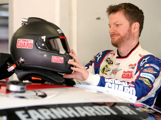 Dale Earnhardt Jr. gears up in the garage Friday to practice for Saturday's Sprint Unlimited Shootout at Daytona International Speedway.
