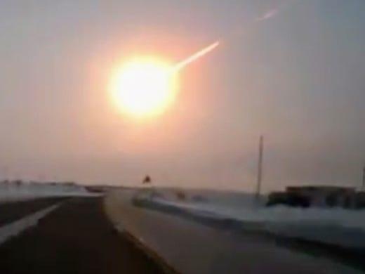 A meteor streaks across the sky on Friday near Chelyabinsk, Russia.