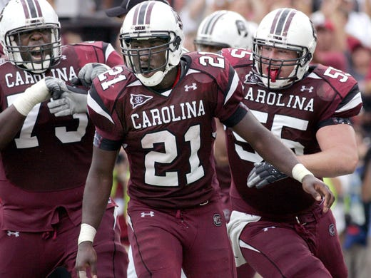 In his three seasons with South Carolina, Marcus Lattimore ran for 2,677 yards and 38 touchdowns, but his career was also cut short by devastating knee injuries in two of his three seasons.