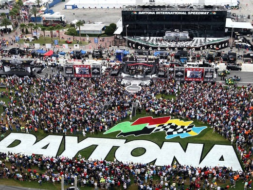 A general view of the crowd in the infield as the Zac Brown Band performs before the Daytona 500 at Daytona International Speedway.
