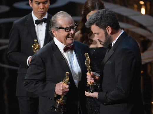 Jack Nicholson with 'Argo' director Ben Affleck after 'Argo' won best picture.