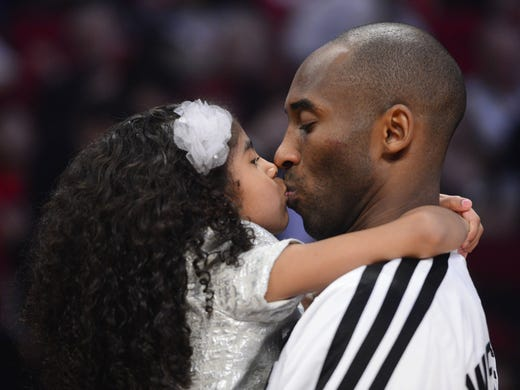 Lakers guard Kobe Bryant kisses daughter Natalia during halftime of the 2013 NBA All-Star Game. Flip through this gallery to see more NBA stars with their children.