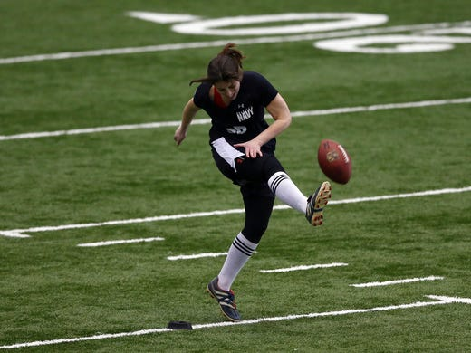Lauren Silberman attempts a kick off during the NFL Regional Scouting Combine on March 3, 2013 at the Atlantic Health Training Center in Floram Park, N.J.