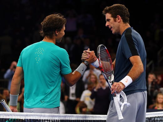 Rafael Nadal shakes hands with Juan Martin del Potro after del Potro's 7-6 (7-4), 6-4 victory in the BNP Paribas Showdown on Monday at Madison Square Garden,
