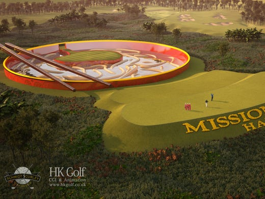 "The ""noodle bowl"" hole at a life-sized mini golf course that is slated for completion in 2014. The course is located at the Mission Hills resort on the Chinese island of Hainan."