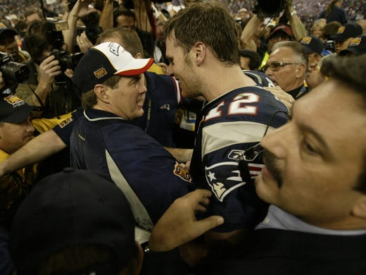 During their title-winning heyday, Bill Belichick, Tom Brady and the Patriots set the NFL record with 21 consecutive wins overall from 2003 to 2004, including a Super Bowl XXVIII victory over the Panthers. The streak ended midway through the 2004 season, but New England went on to win its second straight Super Bowl.