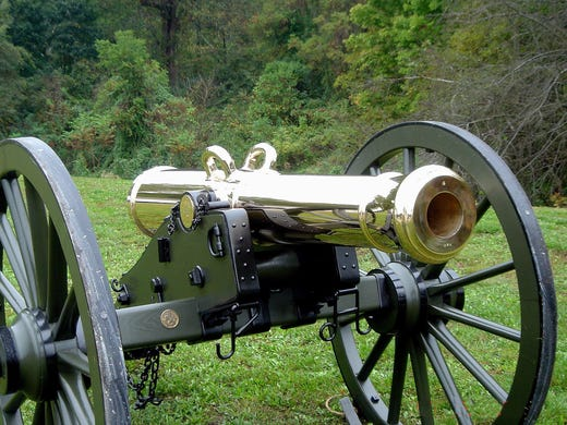 """""""This is one of the most beautiful guns we make"""" says Marshall Steen, owner of Steen Cannons, one of the only authentic cannon producers in the nation. Pictured is a facsimile of an 1841 12-pounder used in the Mexican and Civil wars. The weight refers to the the projectile, not the cannon."""