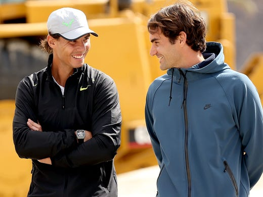 Rafael Nadal and Roger Federer have delivered the best rivarly in tennis in the last decade. Nadal leads 23-10. Here, the duo chat during a groundbreaking ceremony at the Indian Wells Tennis Garden in March 2013.