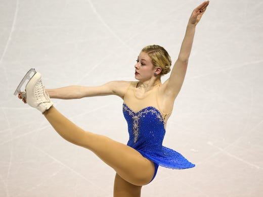 Gracie Gold skates during the  free program at the World Figure Skating Championships on Saturday.