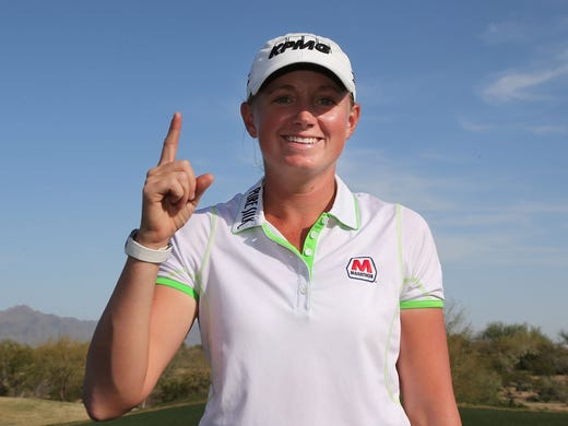 Stacy Lewis signals her ascent to the top of the rankings with a victory Sunday in the RR Donnelley LPGA Founders Cup.