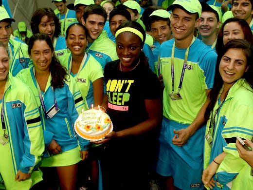 Sloane Stephens celebrates her 20th birthday Wednesday with a cake and the ballkids.