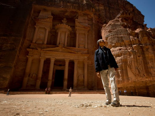 President Obama tours Jordan's ancient city of Petra on March 23.