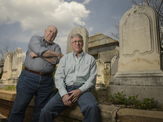 Bob Duvall, left, and Mark LaRocca-Pitts helped facilitate a death cafe at the Oakland Cemetery in Atlanta.