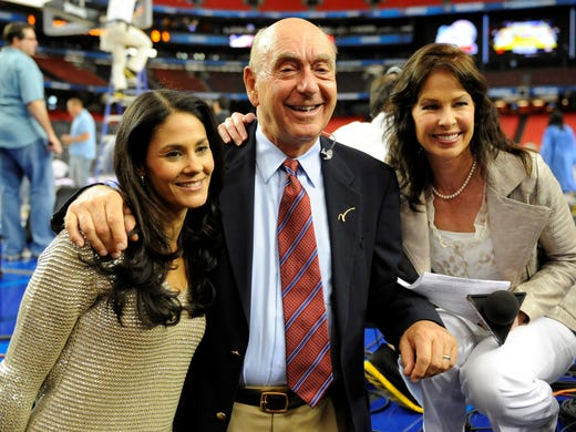 ESPN's Dick Vitale poses with CBS Sideline reporter Tracy Wolfson (left) and ESPN reporter Jeannine Edwards before the start of the Final Four games at the Georgia Dome.