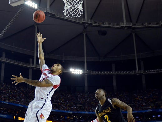 Chane Behanan goes up for a shot during Louisville's 72-68 win in the Final Four against Wichita State