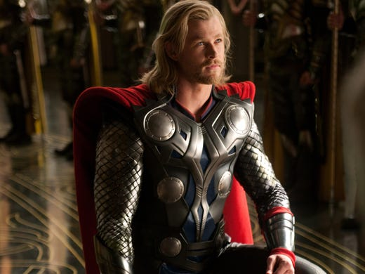 Chris Hemsworth, who portrays Formula 1 driver James Hunt in 'Rush,' played Thor in the movie by that name and 'The Avengers.'