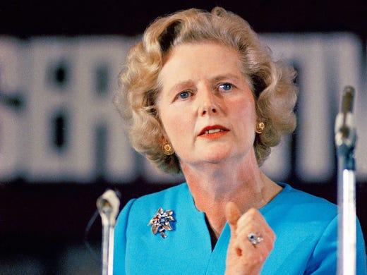 Margaret Thatcher, leading conservative who won the first ballot for leadership which resulted in Prime Minister Edward Heath's resignation, speaks on Feb. 10, 1975, in London. Thatcher, 87, Britain's first female prime minister, died on April 8 from a stroke.