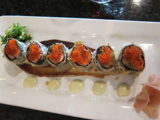 Copper River red-salmon tempura roll, unusual in that the entire roll is lightly fried, rather than the fish inside it.