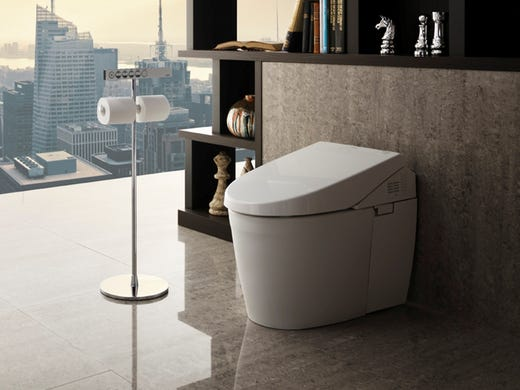 The TOTO Neorest 550H toilet has an easy-to-read remote control, a SanaGloss ceramic glaze that prevents sticking, a programmable nightlight, hands-free flush and three-mode personal cleansing system with warm air dryer. It starts at $5,500.
