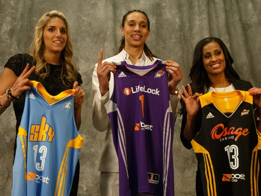 Elena Delle Donne,  Brittney Griner and Skylar, Diggins pose for pictures at the main ESPN Campus as players for the WNBA.