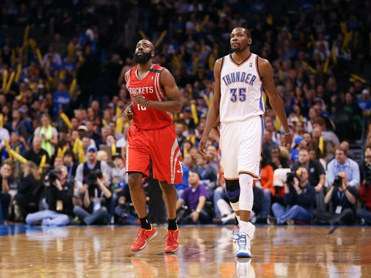Kevin Durant lifted the Thunder to the No. 1 seed, and as a treat, he gets to face his former teammate. The No. 8 seed Rockets run through James Harden, who will try to show his former team what he can do without Durant. But Durant is Durant, and he gets the edge. Flip through this gallery for all the best first-round head-to-head battles.