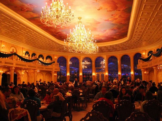 Best chance to 'eat in a movie' -- Be Our Guest Restaurant: Walt Disney World Beast's Castle from Beauty and the Beast houses Be Our Guest Restaurant, a new dining addition to the Magic Kingdom. Diners are enchanted by three dining rooms — Belle's library, the West Wing, and the elegant Ballroom — it's a wonder of 'imagineering!' This location is also notable as it's the only spot to order an alcoholic beverage in the Magic Kingdom.