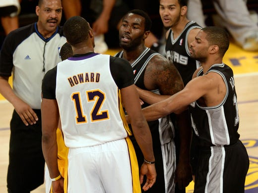 Game 4 in Los Angeles: Spurs 103, Lakers 82 - Lakers center Dwight Howard yells at several Spurs in the lead-up to his ejection.