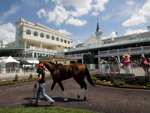 A general view as a horse is led to the track in advance of the 2013 Kentucky Derby at Churchill Downs