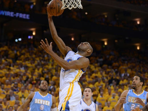 Game 6 in Oakland: Warriors 92, Nuggets 88 -  Warriors point guard Jarrett Jack drives to the basket during the second quarter.
