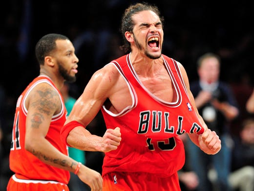Game 7 in Brooklyn: Bulls 99, Nets 93 - Bulls center Joakim Noah celebrates after Chicago's win in game seven at the Barclays Center.