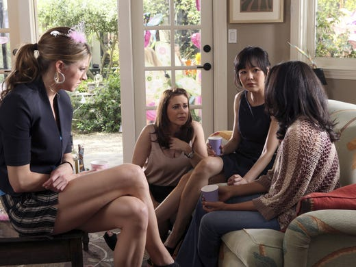 """'Mistresses' (ABC, Mondays, 10 ET/PT, June 3) Drama about """"four sexy and sassy girlfriends (Alyssa Milano, Yunjin Kim, Rochelle Aytes and Jes Macallan) and their turbulent lives,"""" in ABC's words."""