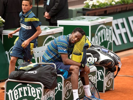 Gael Monfils during a line change in his match against Tommy Robredo