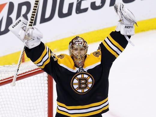 Game 4: Boston Bruins goalie Tuukka Rask (40) celebrates defeating the Pittsburgh Penguins 1-0.