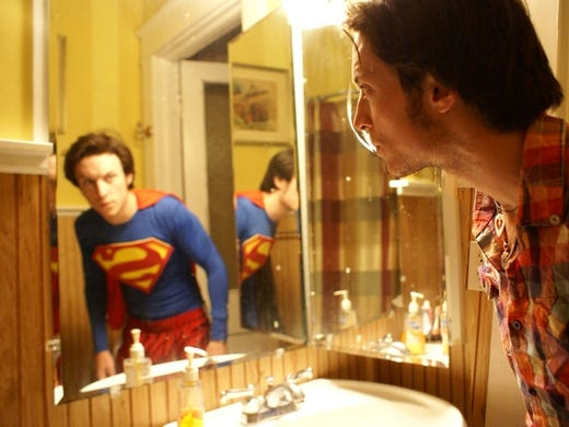 """I've been a Superman fan my whole life,"" says Drew Sykes of Raleigh, N.C. ""This photo is a self-portrait I took of myself a while back. The idea is that on the outside, I'm 'me,' but we all see ourselves how we want to be seen in the mirror."" Share your Superman photos using #mysuperphoto on Twitter."