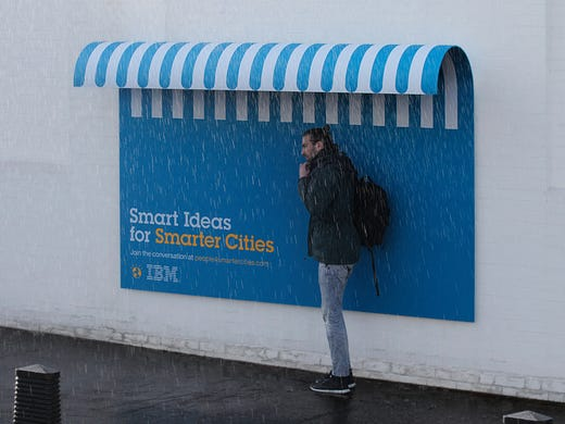 Billboards created by Ogilvy France that double as street furniture for IBM's Smarter Cities campaign won the top Grand Prix award for the outdoor category. The designs included shelters, benches and ramps.