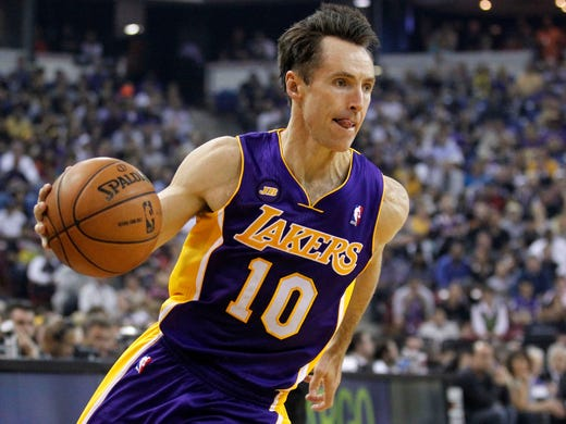 Steve Nash, Los Angeles Lakers: 39 years old, 17 seasons of experience, Victoria, B.C.,14.4 points and 8.5 assists a game.