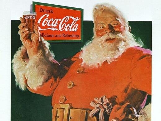 Coca-Cola began its famous Santa campaign in 1931 with this ad by artist Haddon Sundblom.